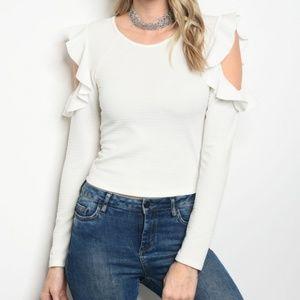 White Long Sleeve Cold Shoulder Top